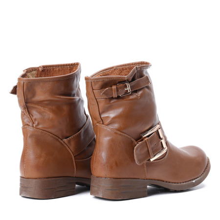 Brown ankle boots with decorative buckles Rick - Footwear