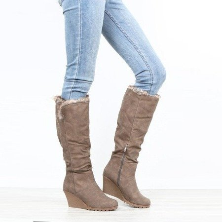Dark beige boots on Aswertyne wedges - Footwear