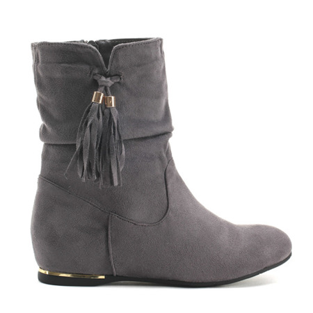 Grey suede ankle boots with covered wedge heels Lovely Shoes